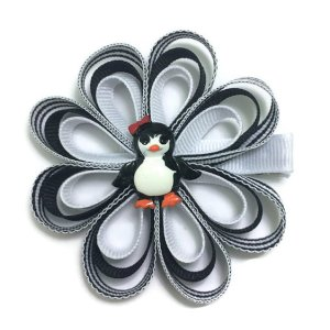 Penguin Ribbon Sculpture Hair Bow