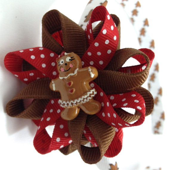 Gingerbread Girl Hair Bow Headband