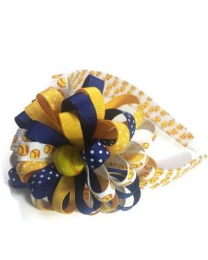Softball Hair Bow Headband
