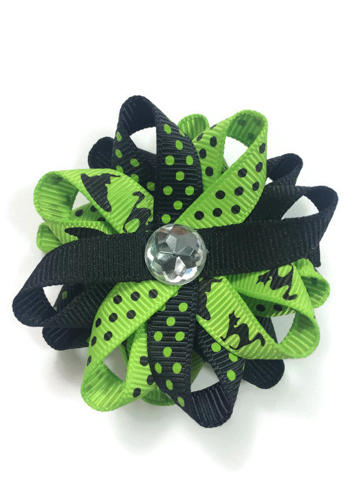 Green Halloween Cats Hair Bows