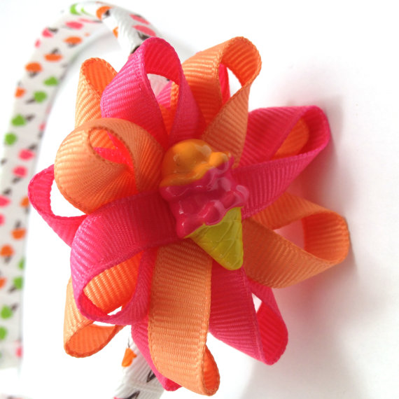 Ice Cream Pink, Peach Hair Bow Headband