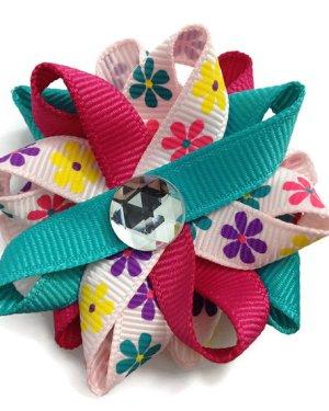Pink Daisy handmade Hair Bows