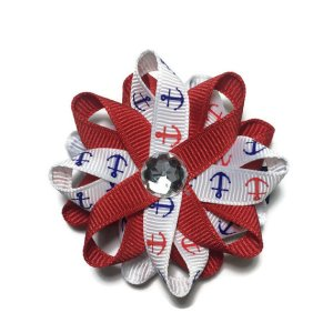 Red nautical Anchor Hair Bows