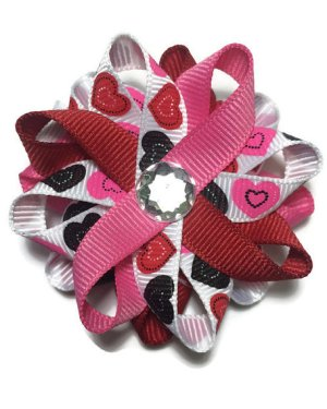 Valentines Day Hearts Hair Bows