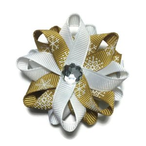 Gold Snowflake handmade Hair Bows