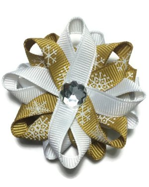 Gold Snowflake handmade Hair Bows