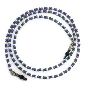 Purple Green White Beaded Eyeglass Chain
