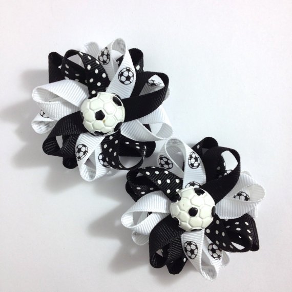 Soccer Ball sports Hair Bows