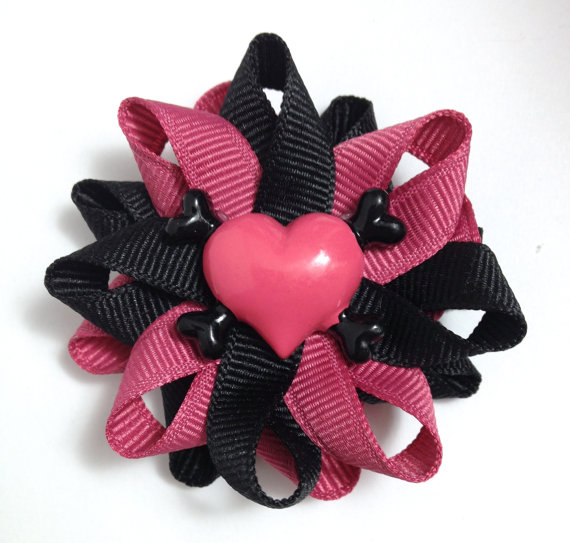Heart Crossbones Hair Bows