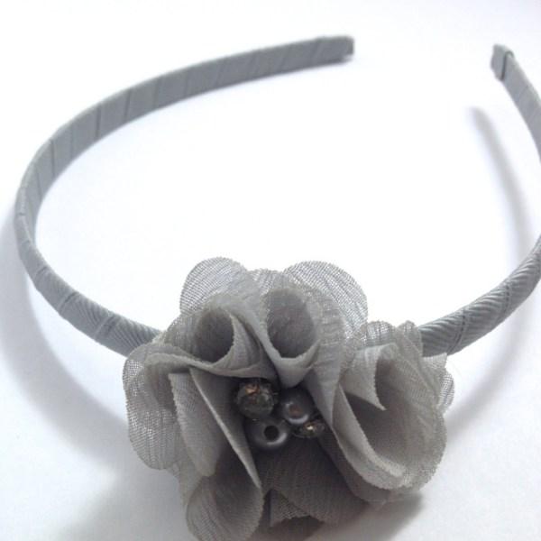 Silver Grey Chiffon Flower Headband