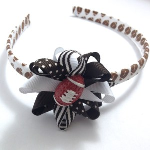 Football Hair Bow Headband