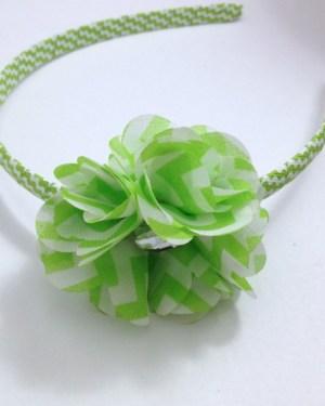 Apple Green Chevron Stripe Flower Headband