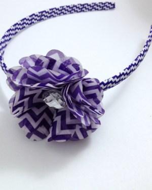 Purple Chevron Stripe Flower Headband