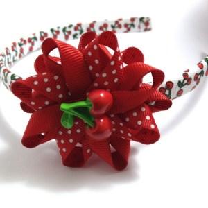 Cherry Hair Bow Headband