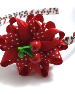 Cherry Hair Bow Headband