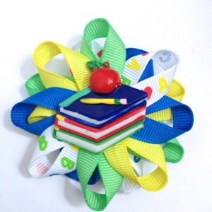 Back To School Books Hair Bow Barrette
