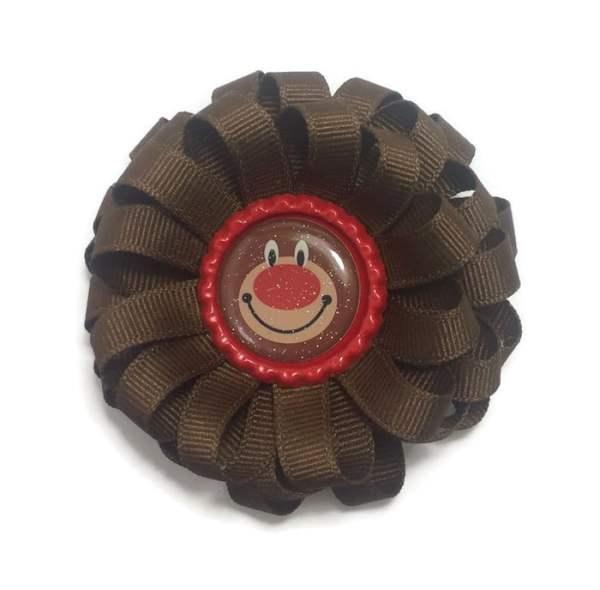brown christmas bear bottle cap hair bow
