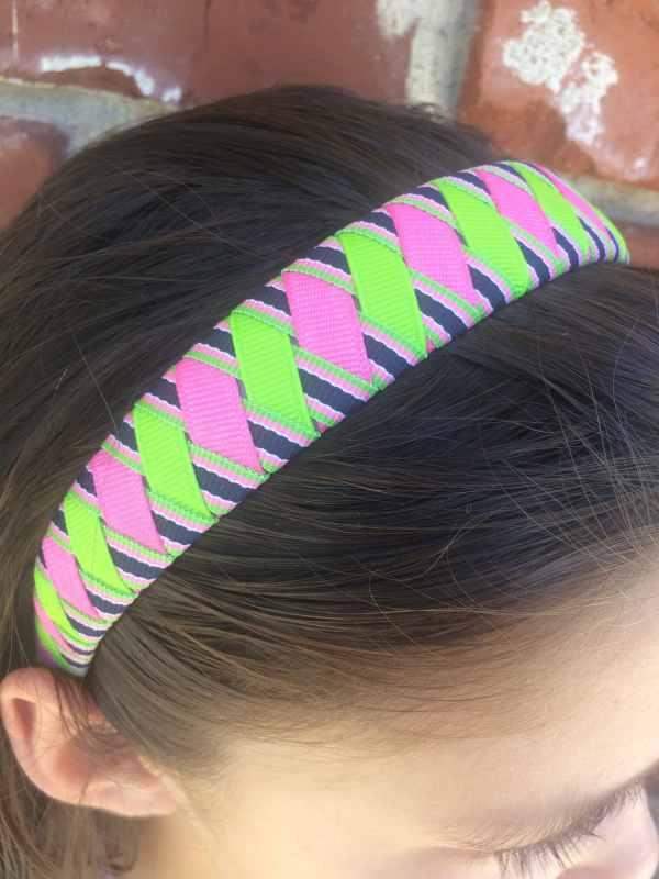 Pink Green Navy Stripe Woven Headband