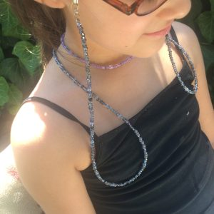 black grey beaded eyeglass holder