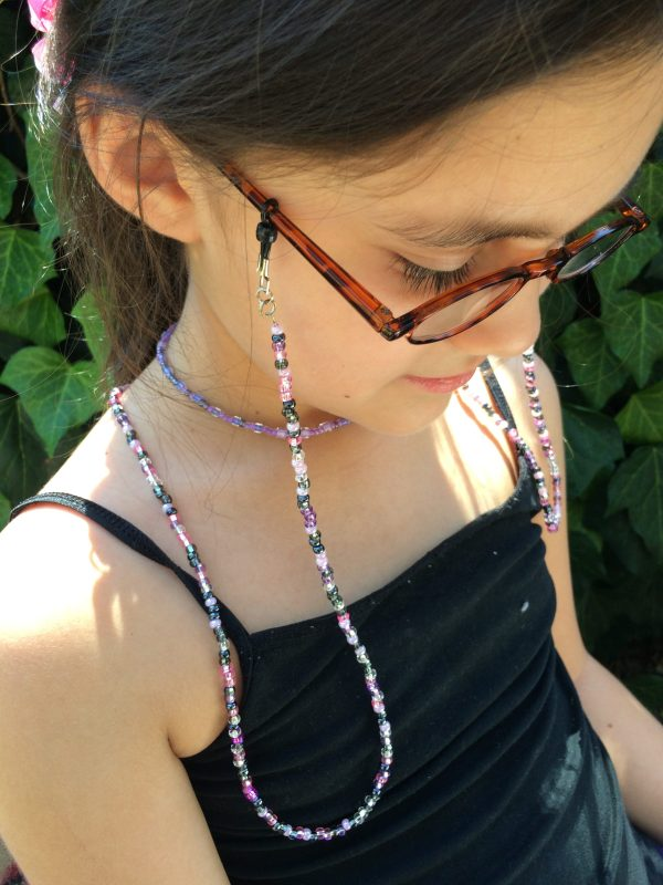 Pink Purple Black Beaded Eyeglass Holder