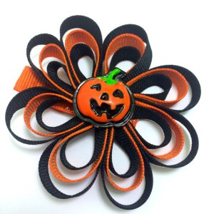 Jack-O-Lantern Ribbon Sculpture Hair Bow
