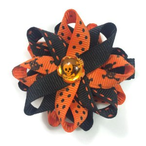 Orange Halloween Skulls Hair Bows