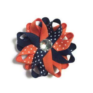 Navy Orange Dots Hair Bows