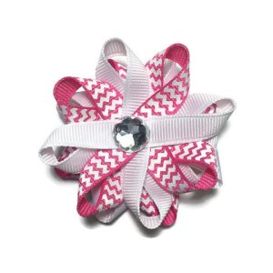 Pink Chevron Stripes Hair Bows