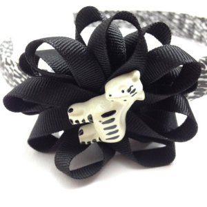 Zebra Hair Bow Headband