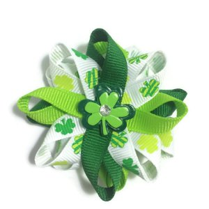 St Patricks Day shamrock Hair Bows