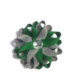 Emerald Green Silver Hair Bows