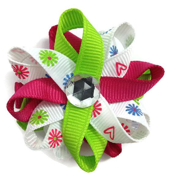 Neon Flowers handmade Hair Bows