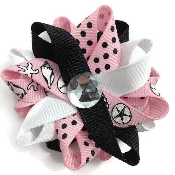 Pink Shells handmade Hair Bows