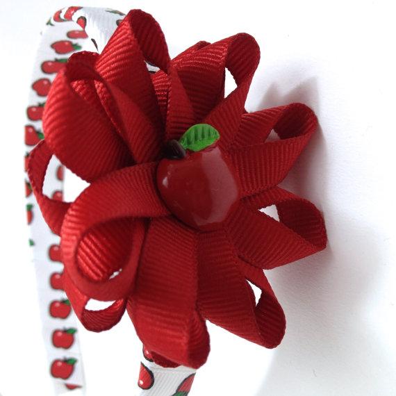 Apple handmade Hair Bow Headband
