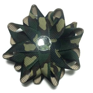 Green Camouflage Hair Bows