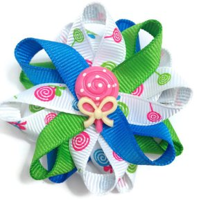 Pink Lollipop Candy Hair Bows