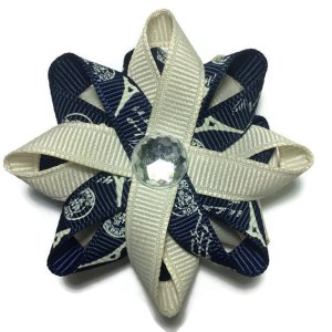 Navy Eiffel Tower Paris Hair Bows