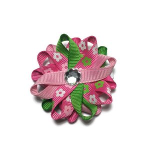 Pink Flower handmade Hair Bows
