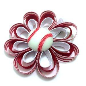 Baseball Ribbon Sculpture Hair Bow