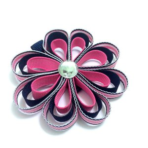 Pink Navy Stripe Ribbon Sculpture Hair Bow