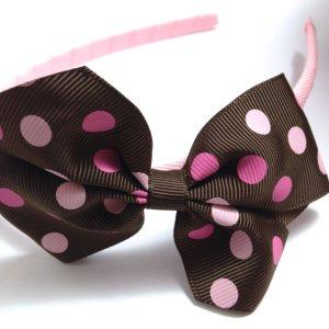 Brown pink Dots Pinwheel Bow Headband