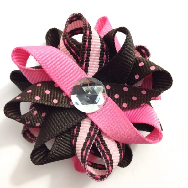 Brown Pink Stripes Dots Hair Bows