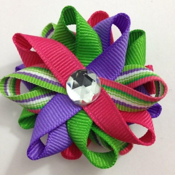 Green Pink Purple Stripe Hair Bows
