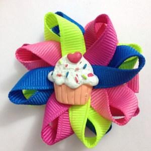 Neon birthday Cupcake Hair Bows