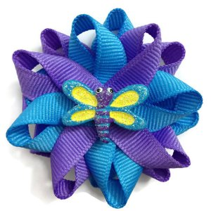 blue purple dragonfly hair bows