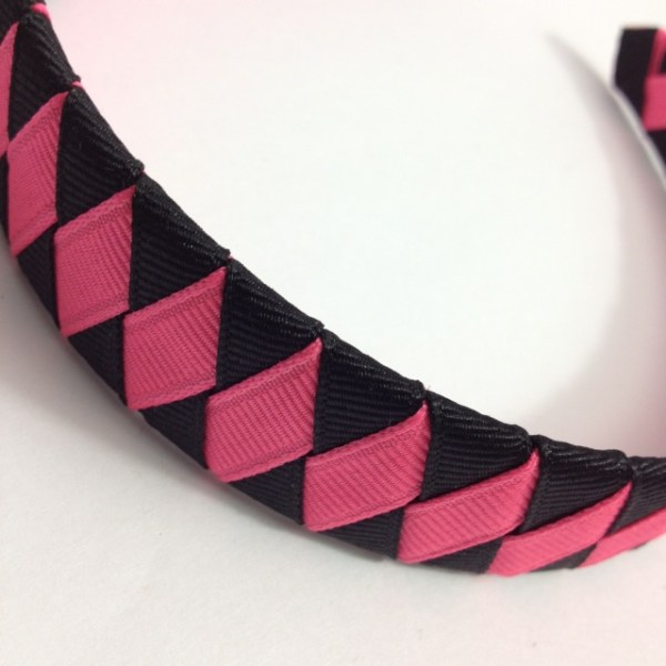 Bright Pink, Black Braided Headband