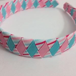 Pink & Blue Stripes Braided Headband