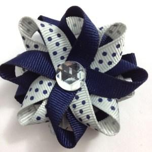 Navy Blue Silver Dots Hair Bows