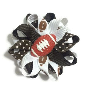 brown football sports hair bows