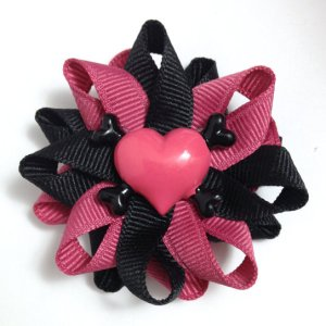 Heart Crossbones Hair Bows